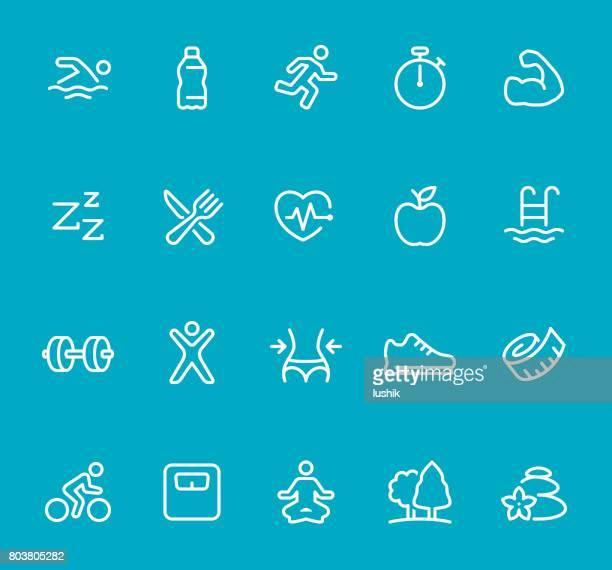 ilustrações, clipart, desenhos animados e ícones de fitness - linha de conjunto de ícones - cardiovascular exercise