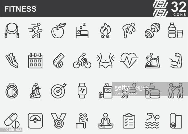 fitness line icons - groom human role stock illustrations