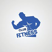 Fitness logo with muscled man silhouett
