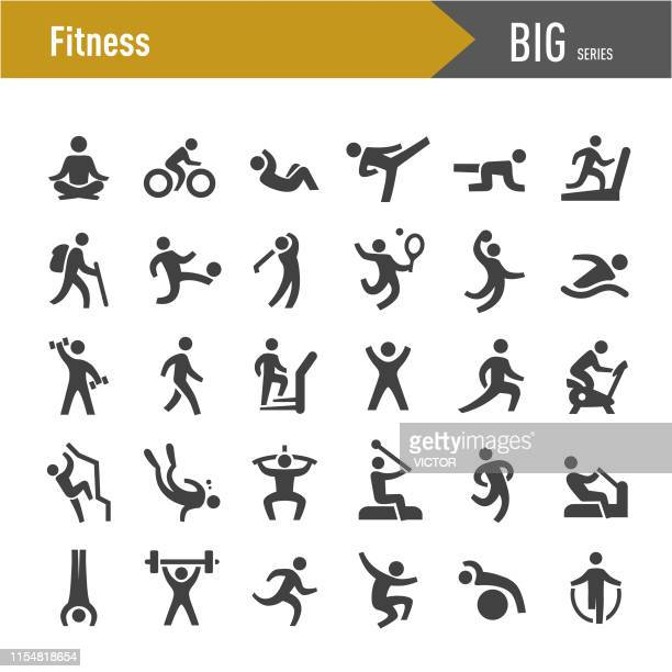 fitness method icons - big series - team sport stock illustrations