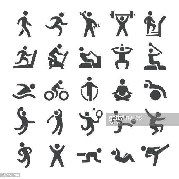 fitness method icons - smart series - team sport stock illustrations