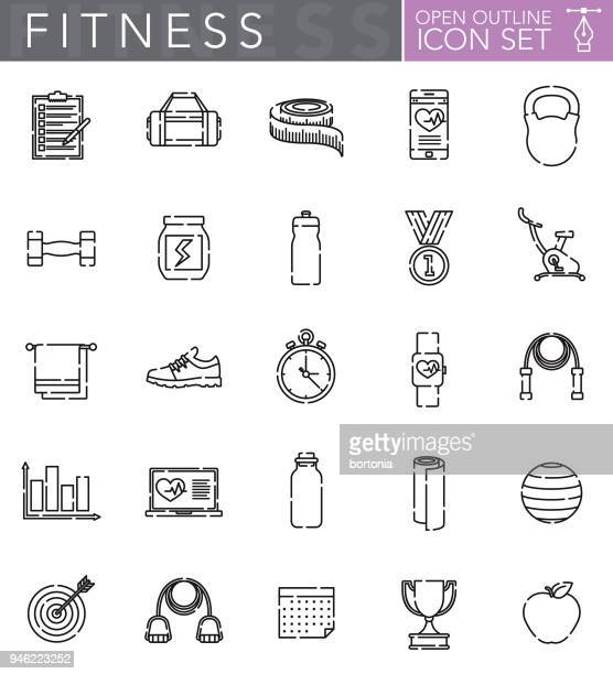 fitness open outline icon set - water bottle stock illustrations, clip art, cartoons, & icons