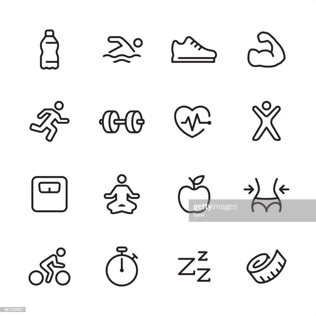 Fitness - outline icon set