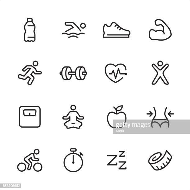 fitness - outline icon set - cardiovascular exercise stock illustrations, clip art, cartoons, & icons