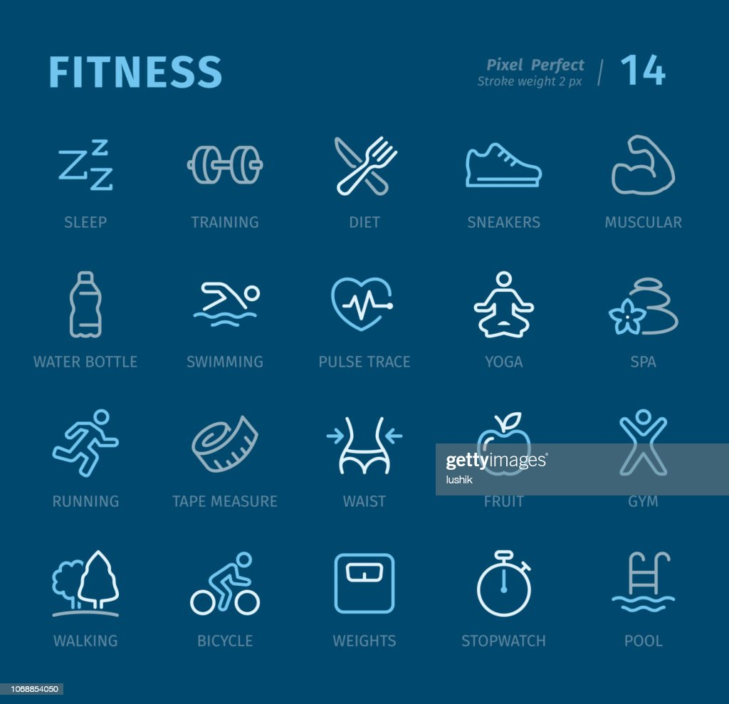 Fitness - Outline icons with captions : stock illustration