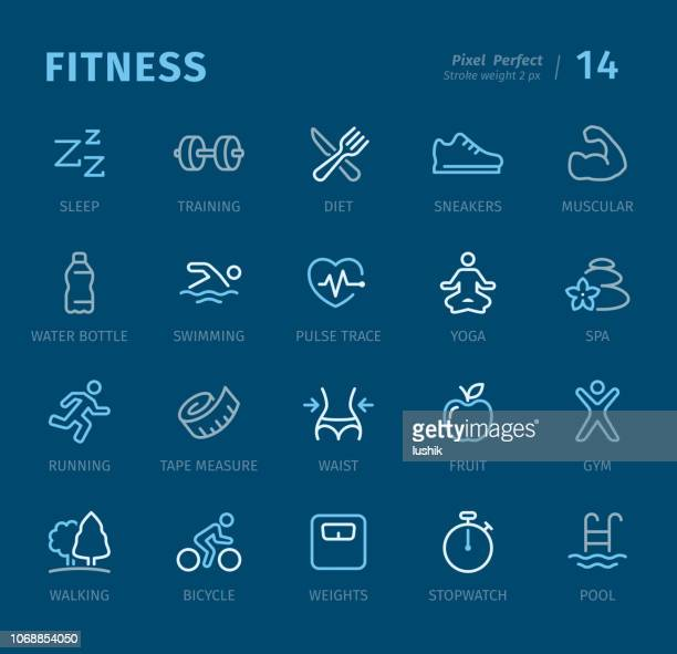 fitness - outline icons with captions - weight training stock illustrations