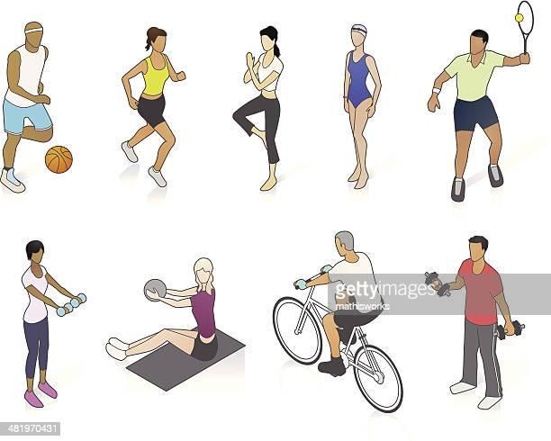 ilustraciones, imágenes clip art, dibujos animados e iconos de stock de gimnasio personas medio - entrenamiento de fuerza