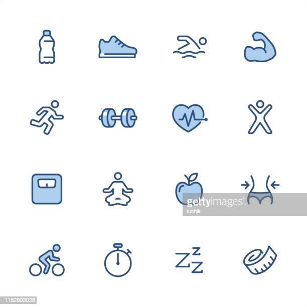 fitness - pixel perfect blue outline icons - aqua aerobics stock illustrations, clip art, cartoons, & icons