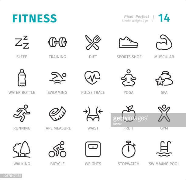 fitness - pixel perfect line icons with captions - weight training stock illustrations