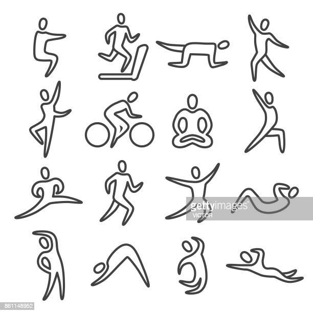 Fitness Posture Icons - Line Series