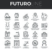 Fitness Recreation Futuro Line Icons Set