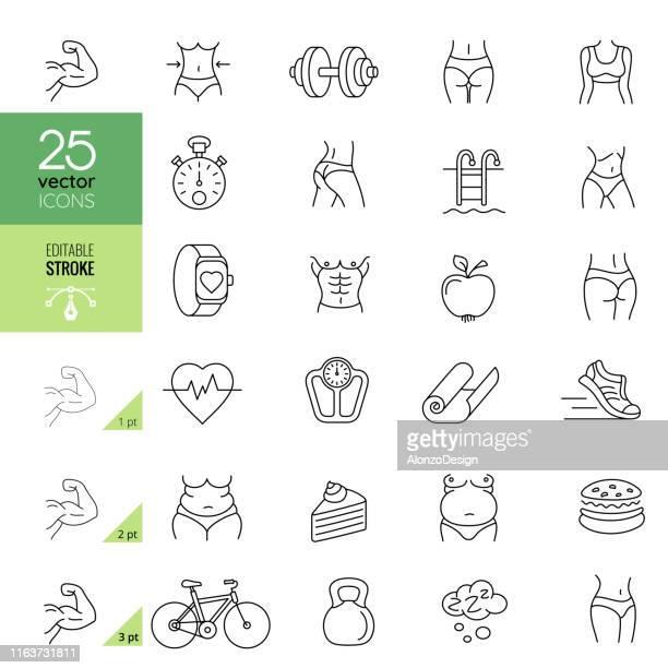 ilustrações, clipart, desenhos animados e ícones de ícones relacionados da linha da aptidão. traço editável. - magro descrição geral