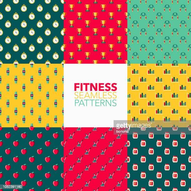 fitness seamless pattern set - fitness tracker stock illustrations, clip art, cartoons, & icons