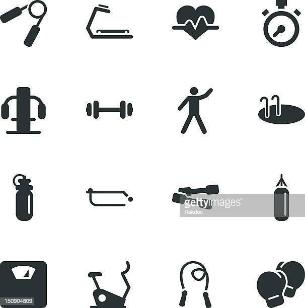 ilustraciones, imágenes clip art, dibujos animados e iconos de stock de fitness silueta de iconos - aparatos para hacer ejercicio
