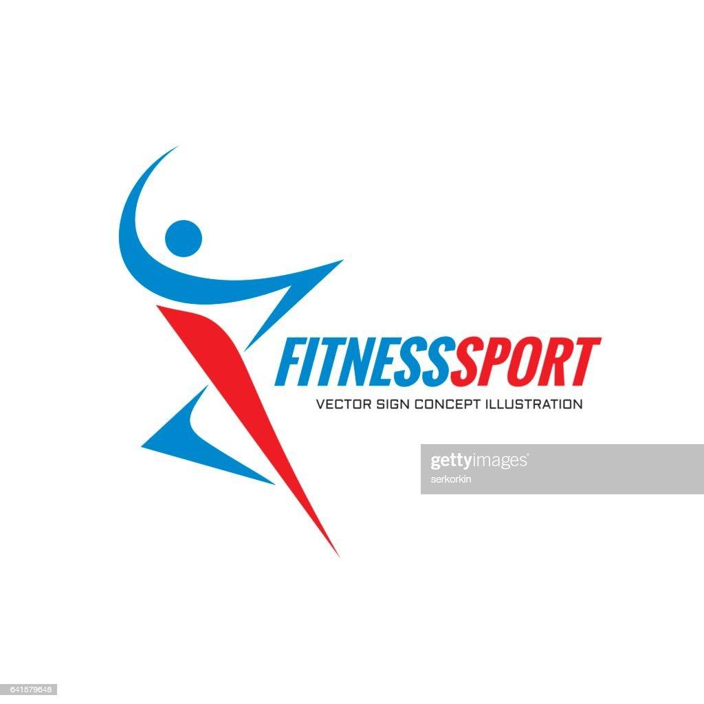 Fitness Sport - vector logo template concept illustration. Human character. Abstract running man figure.