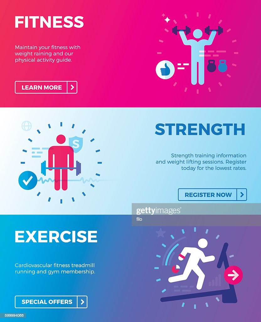 Fitness, Strength Training and Exercise Health Banners : stock illustration