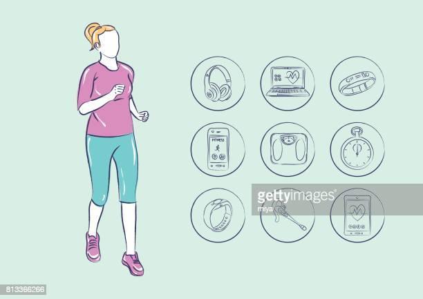 fitness technology - istock - fitness tracker stock illustrations, clip art, cartoons, & icons