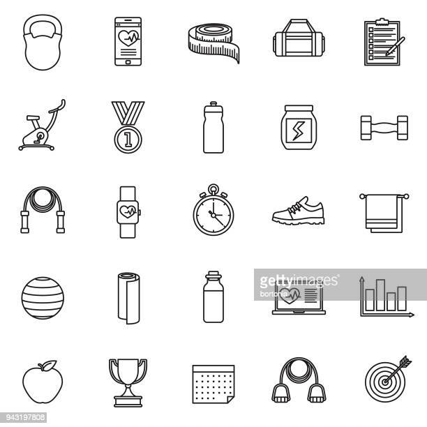 Fitness Thin Line Icon Set