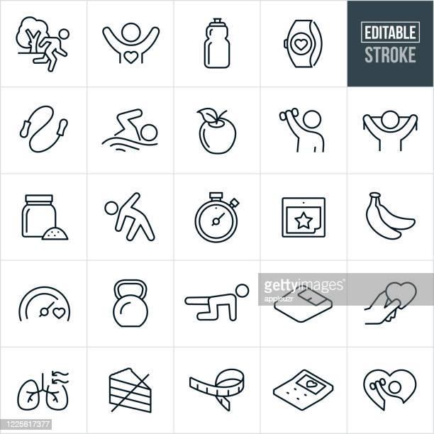 ilustrações, clipart, desenhos animados e ícones de ícones de linha fina fitness - traçado editável - exterior