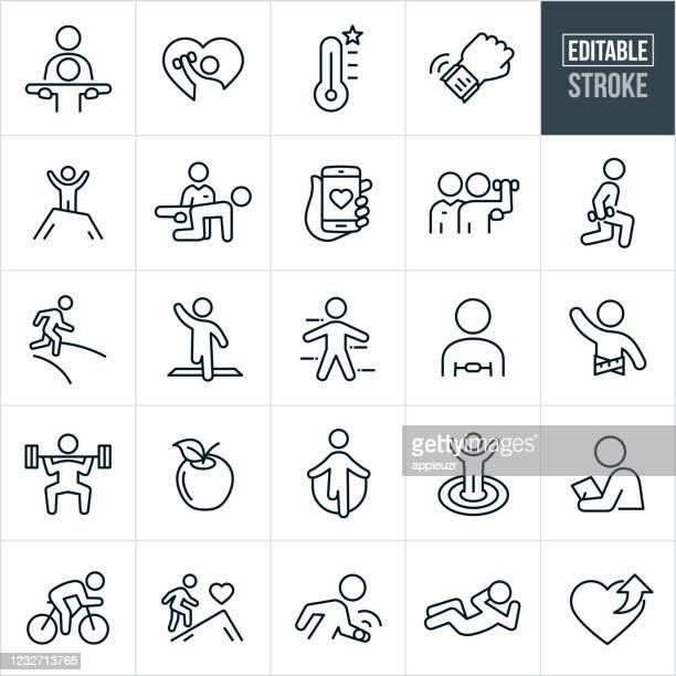 fitness thin line icons - editable stroke - sporting term stock illustrations
