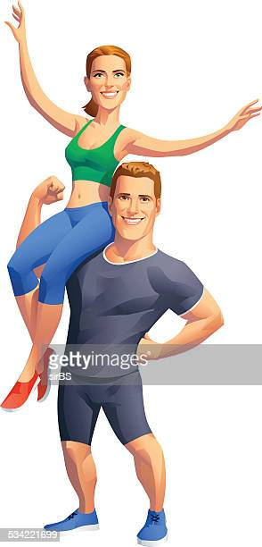 fitness together - body building stock illustrations