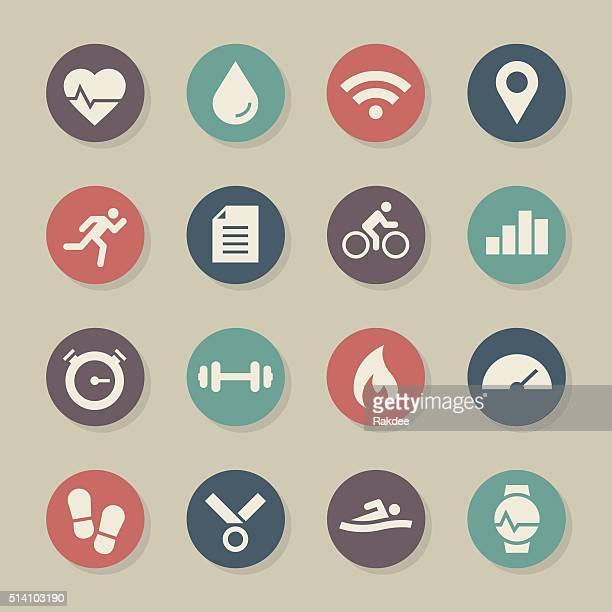 ilustrações, clipart, desenhos animados e ícones de ícone de rastreador de aptidão de cor círculo série - cardiovascular exercise