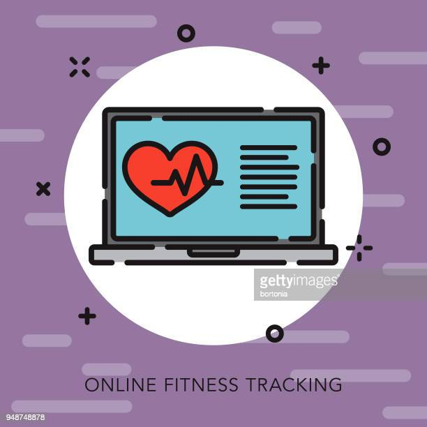 fitness tracker open outline fitness icon - fitness tracker stock illustrations, clip art, cartoons, & icons