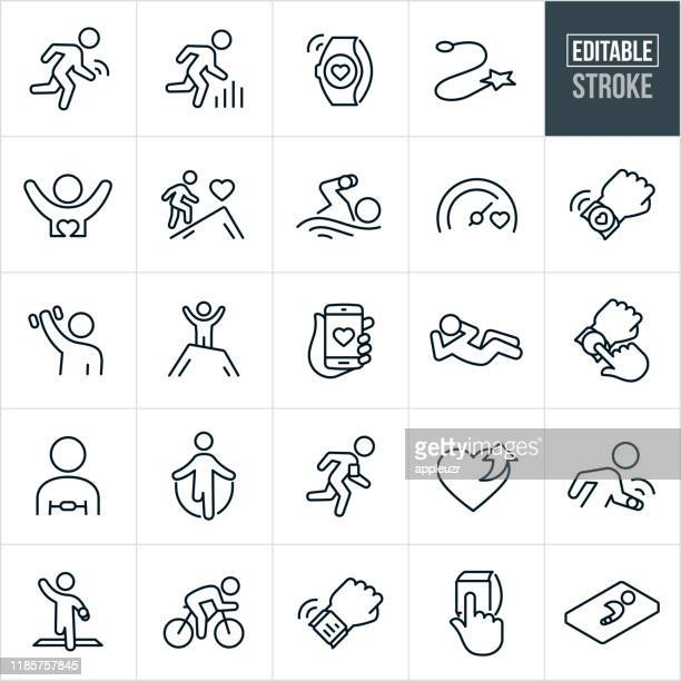 fitness tracking thin line icons - ediatable stroke - smart watch stock illustrations