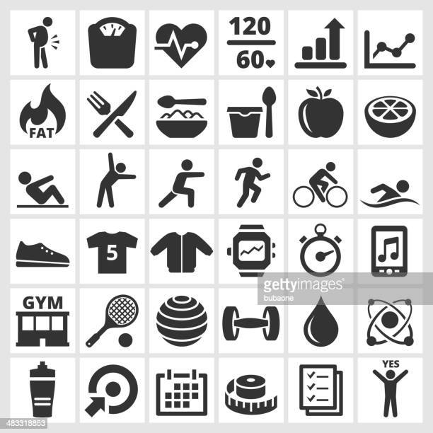 Fitness & wellness gym and diet vector interface icon set