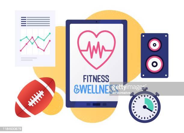 stockillustraties, clipart, cartoons en iconen met fitness & wellness vector illustratie banner ontwerp - uithoudingsvermogen