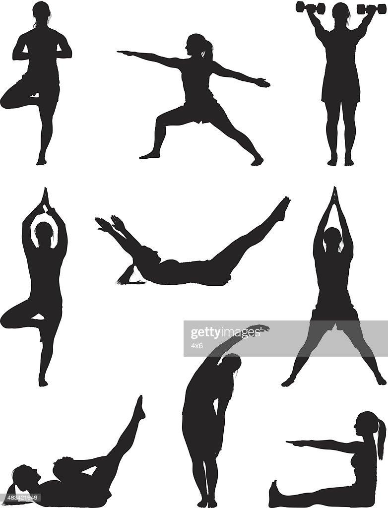 Fitness woman doing yoga workout : stock illustration