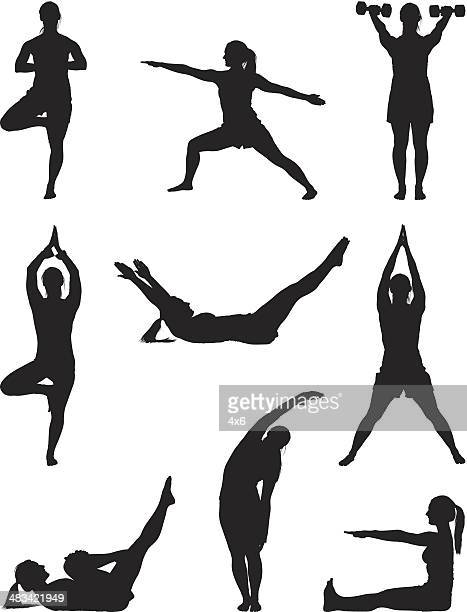 fitness woman doing yoga workout - weight training stock illustrations