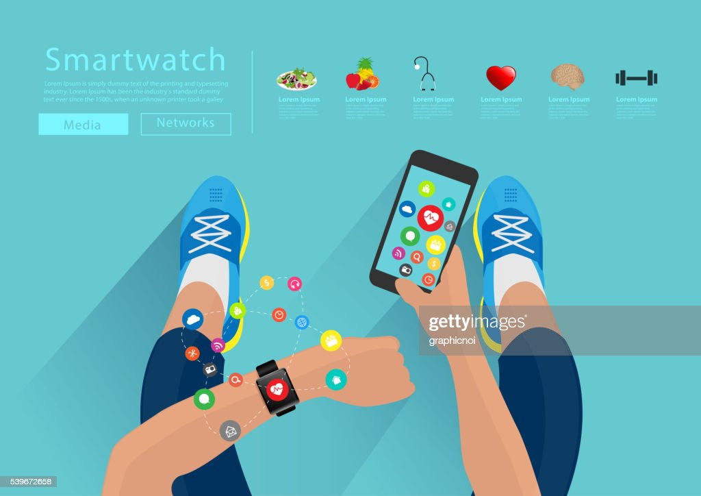Fitness woman hand with wearing watchband touchscreen smartwatch