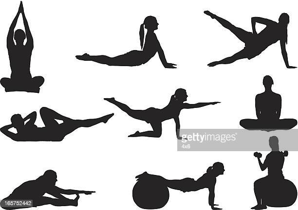 fitness woman stretching and working out - touching toes stock illustrations, clip art, cartoons, & icons