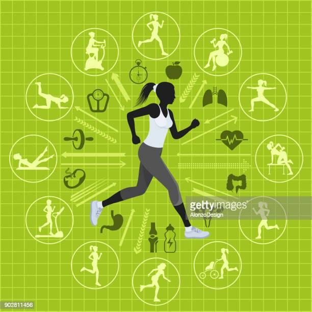 fitness woman - aerobics class stock illustrations, clip art, cartoons, & icons