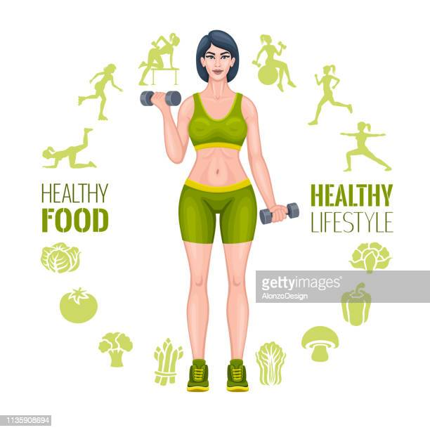 fitness woman with dumbbells. healthy vegan eating - gymnastics stock illustrations, clip art, cartoons, & icons