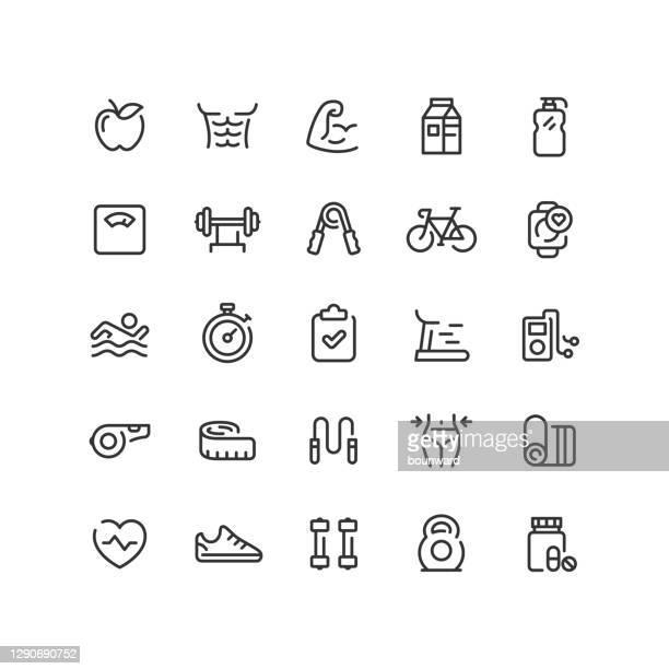 stockillustraties, clipart, cartoons en iconen met fitness & workout line icons bewerkbaar stoke - lichaamsverzorging