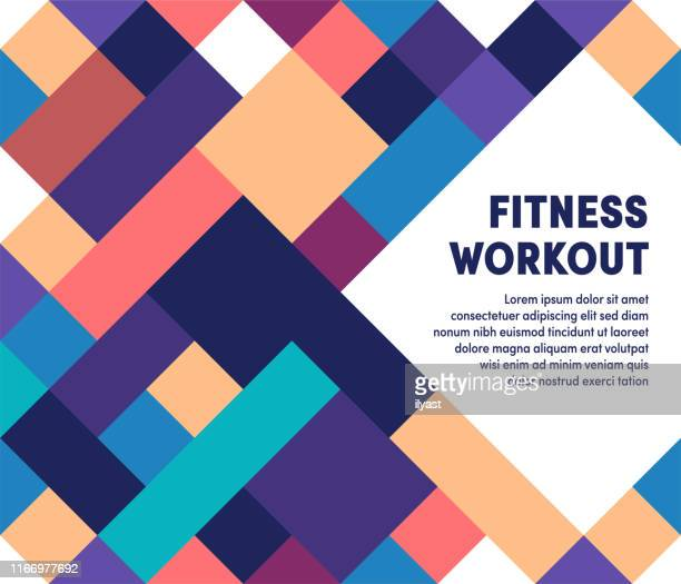 fitness workout moderne & geometrische vektor-illustration - hingabe stock-grafiken, -clipart, -cartoons und -symbole