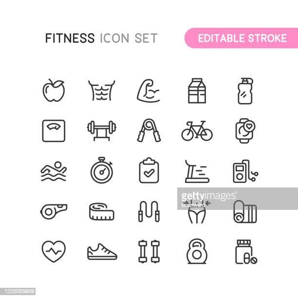 ilustraciones, imágenes clip art, dibujos animados e iconos de stock de fitness & workout outline iconos editables stoke - estilo de vida saludable