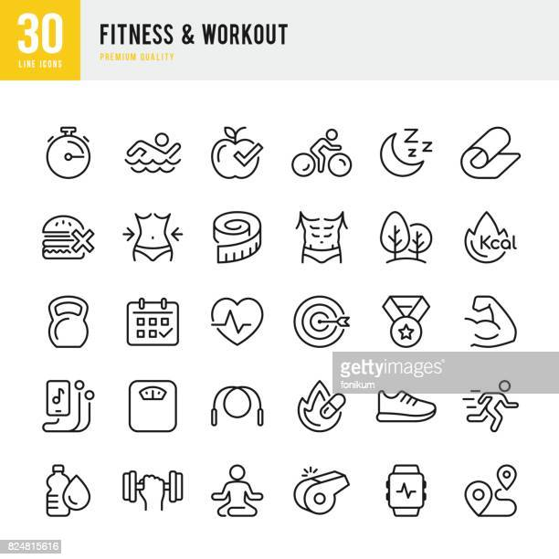 fitness & workout - set of thin line vector icons - weight training stock illustrations