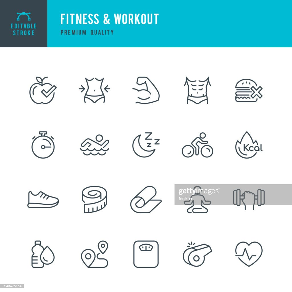 Fitness & Workout - set of thin line vector icons : stock illustration