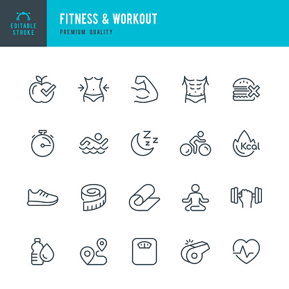 Fitness & Workout - set of thin line vector icons - gettyimageskorea