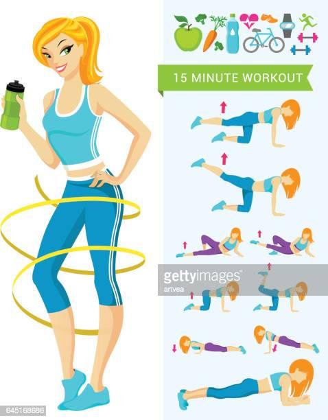 fitness workout - aerobics class stock illustrations, clip art, cartoons, & icons