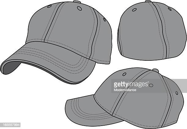 fitted baseball hat template - baseball cap stock illustrations