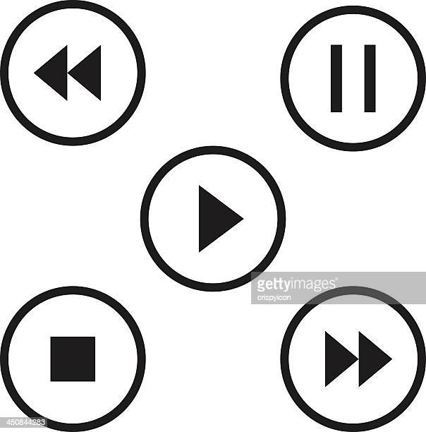 Five black and white circular music player icons