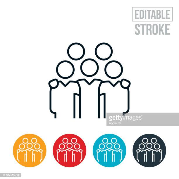 five business people with arms around each others shoulders thin line icon - editable stroke - five people stock illustrations