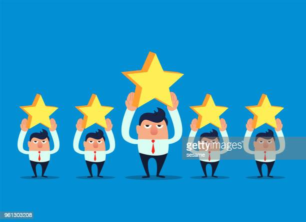 Five businessmen hold the stars