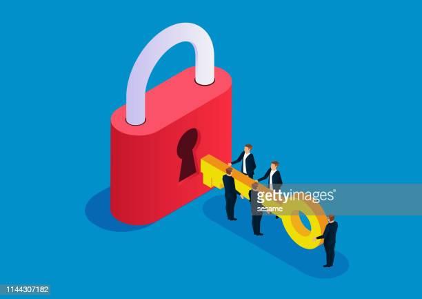 five businessmen holding keys to open big locks - unlocking stock illustrations