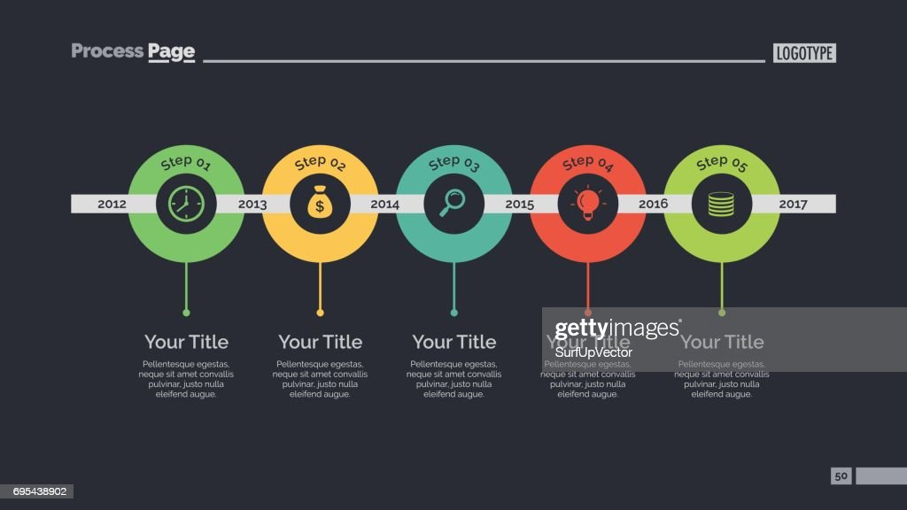 five circles timeline slide template vector art getty images