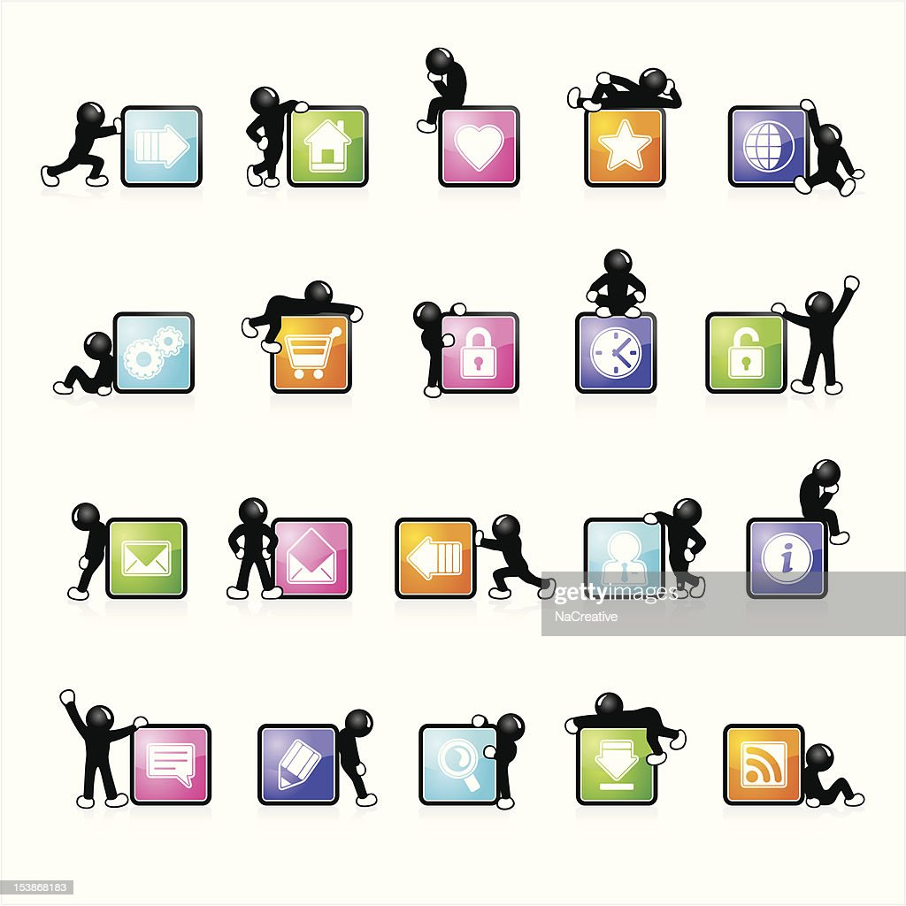 Five colors glossy web icons